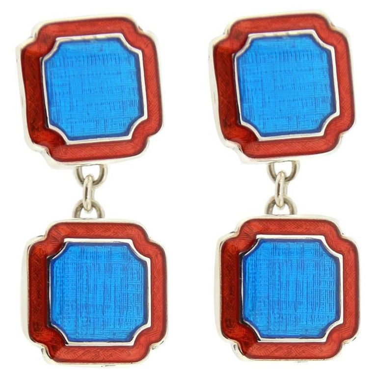 Jona Blue and Red Enamel Sterling Silver Cufflinks For Sale