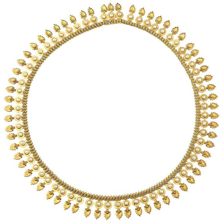 Antique Pearl Gold Fringe Necklace