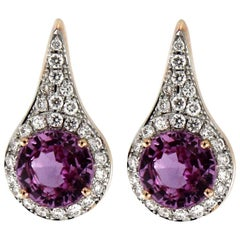 Jona Pink Sapphire Diamond Gold Halo Stud Earrings