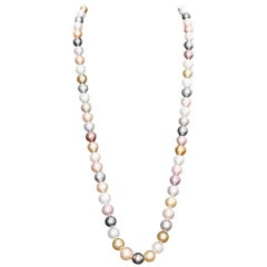 South Sea Multicolor Peal Necklace with Diamond Clasp