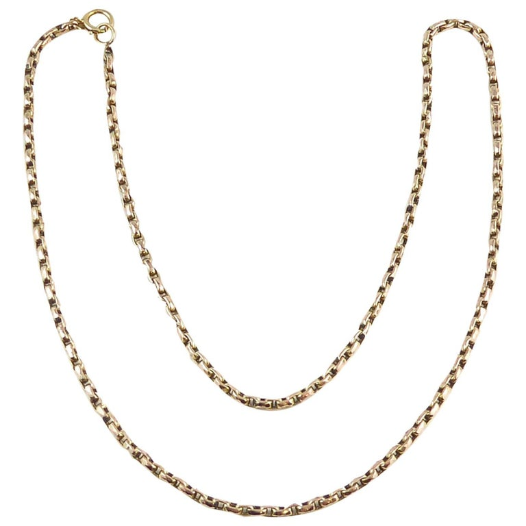 Victorian Rose Gold Chain, Oval Links, Tests as 9 Carat, circa 1900