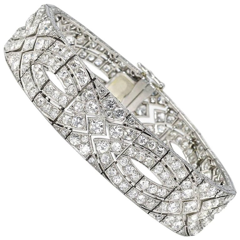Art Deco Diamond Plaque Bracelet 1