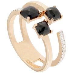 Jona Black Diamond Pink Gold Ring Band