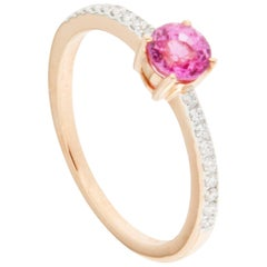 Jona Pink Sapphire White Diamond Rose Gold Solitaire Ring
