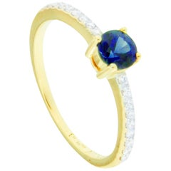 Jona Blue Sapphire White Diamond 18 Karat Yellow Gold Solitaire Ring