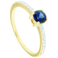 Jona Blue Sapphire White Diamond 18 Karat Yellow Gold Solitaire Ring