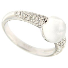 Jona Moonstone White Diamond 18 Karat White Gold Ring