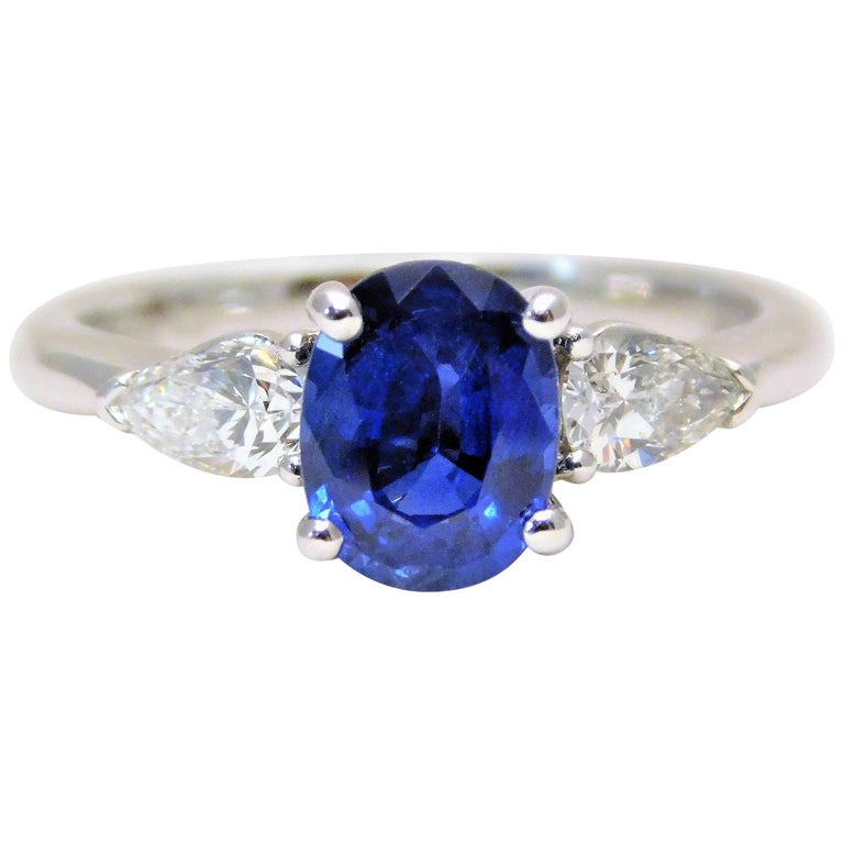 ceylon sapphire and pear shaped trillion cut diamond diner