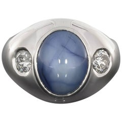 Amazing Platinum Star Sapphire and Millennium Diamond Men's Ring