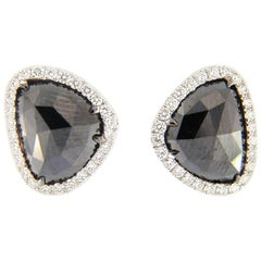 Jona Black Diamond and White Diamonds Gold Earrings