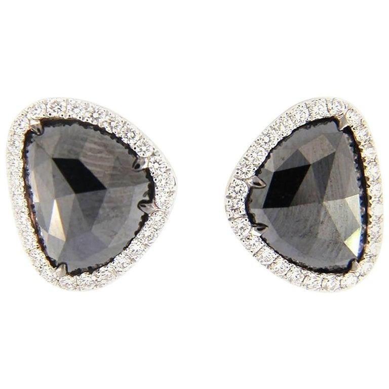 Jona Black Diamond And White Diamonds 18 Karat Gold Earrings