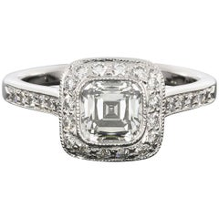 Tiffany & Co. Cushion Diamond Legacy Platinum Halo Engagement Ring