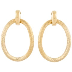 18 Karat Large Hoop Drop Earrings