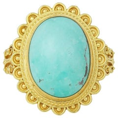Turquoise and Granulated Gold Ring