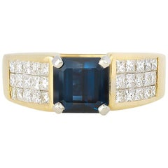 Gold Diamond Spinel and Iolite Ring