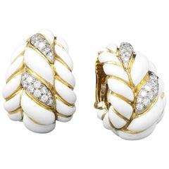 David Webb Diamond White Enamel Gold Earrings