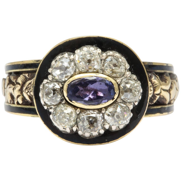 Georgian Amethyst Diamond and Enamel Ring