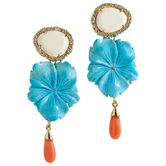 Deux Filles Floral Turquoise, Coral, Diamond and Nacre Drop Earrings