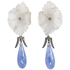 Deux Filles Rock Crystal, Diamond and Chalcedony Drop Earrings