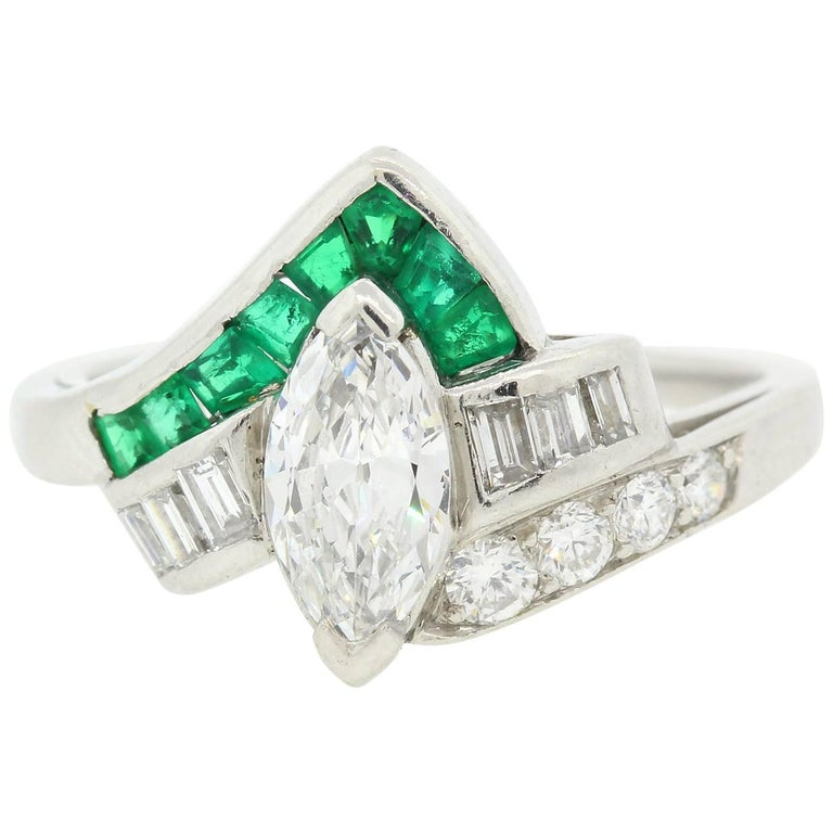Vintage Marquise Diamond Emerald Ring For Sale