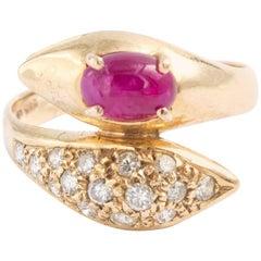 14 Karat Gold Diamond and Ruby Snake Serpent Ring