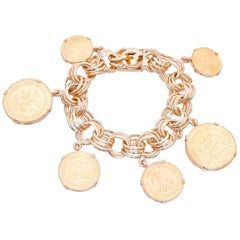 18 Karat Yellow Gold Charm Mexican Coin Bracelet