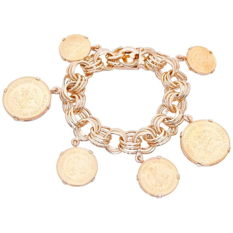 18 Karat Yellow Gold Charm Mexican Coin Bracelet