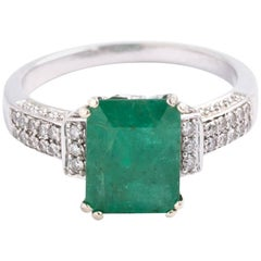 14 Karat White Gold Natural Emerald and Diamond
