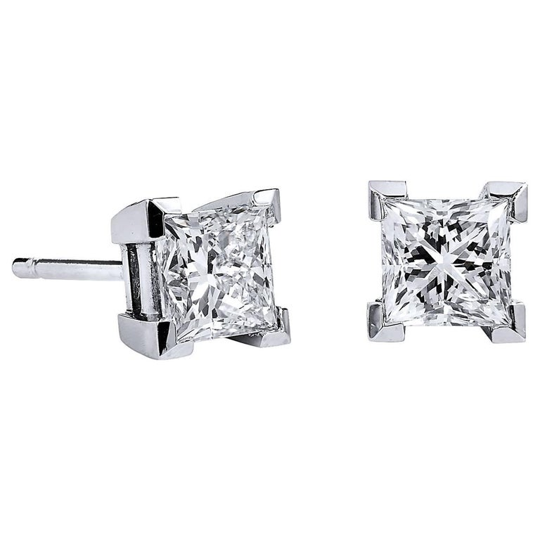 H & H 1.44 Carat Princess Cut Diamond Studs