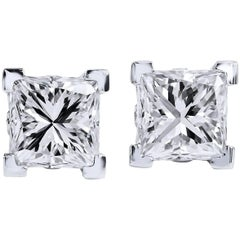 H & H 1.30 Carat Princess Cut Diamond Stud Earrings
