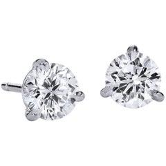 H & H 1.11 Carat Diamond Stud Earrings