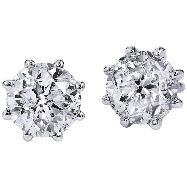 H & H 2.01 Carat Diamond Stud Earrings