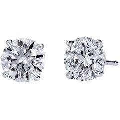 H & H 4.03 Carat Diamond Stud Earrings