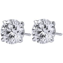 H & H 4.45 Carat Diamond Stud Earrings