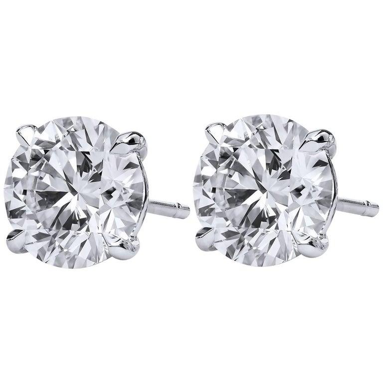 H & H 4.45 Carat Diamond Stud Earrings