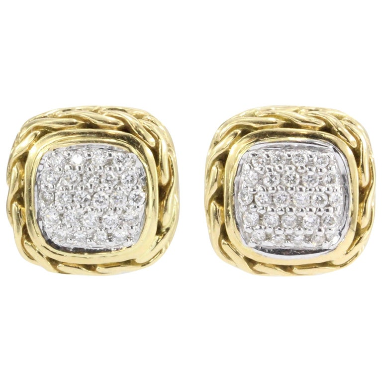 John Hardy Diamond Gold Classic Chain Square Stud Earrings For Sale