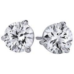 H & H 2.04 Carat Diamond Stud Earrings