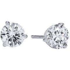 H & H 1.25 Carat Diamond Stud Earrings