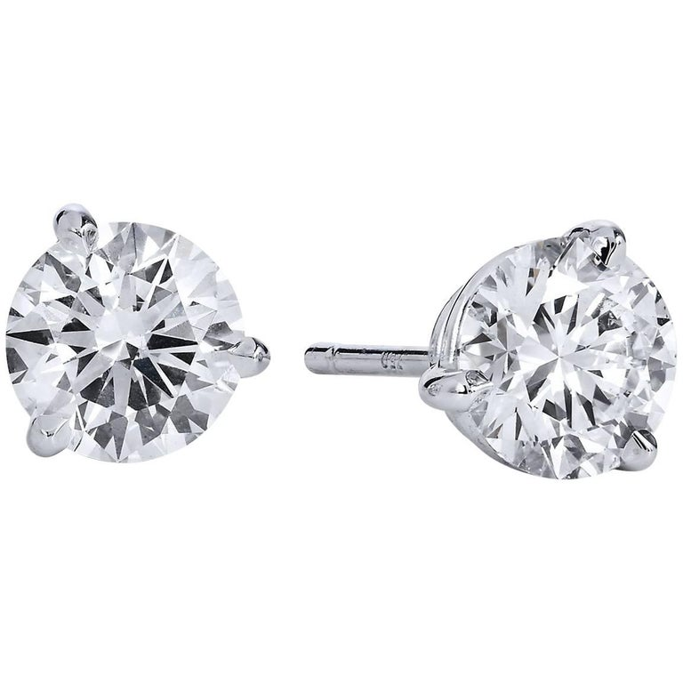 H & H 1.25 Carat Diamond Stud Earrings
