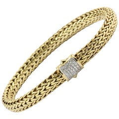 John Hardy Yellow Gold Diamond Classic Chain Bracelet