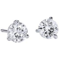 H & H 1.41 Carat Diamond Stud Earrings