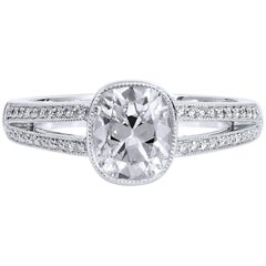 GIA Certified 1.07 Carat Brilliant Cushion Cut Diamond Split Shank Ring Size 5.5