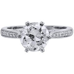 H & H 1.81 Carat Transitional Cut Diamond Engagement Ring