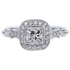 H & H 0.67 Carat Diamond Platinum Ring