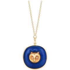 Fred Leighton Yellow Gold Owl and Lapis Lazuli Pendant Necklace