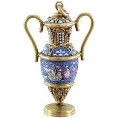 Victorian Micro Mosaic Gold Vase Pendant