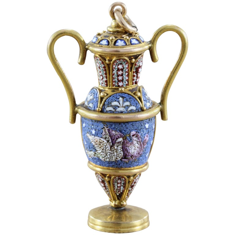Victorian Micro Mosaic Gold Vase Pendant For Sale