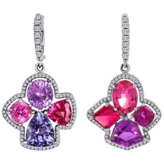 Fabulous Gold Multicolor Spinel and Purple Sapphire Diamond Earrings