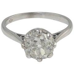 Certified Diamond Engagement Ring, 1.72 Carat Old European Cut, Millennium Mark