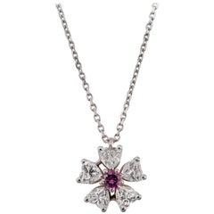 Floral Motif Diamond Pendant with Ideal Cut Heart Shaped Diamonds